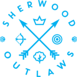 Sherwood Outlaws Brewery bright blue logo