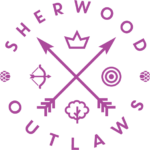 Sherwood Outlaws Brewery bright purple logo